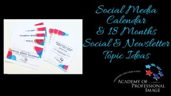 Social media calendar and Newsletter Topic ideas swipe file for image consultants