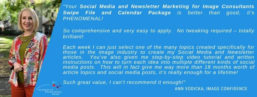 Social Media Marketing and Topic Ideas Swipe file for image consultants testimonial
