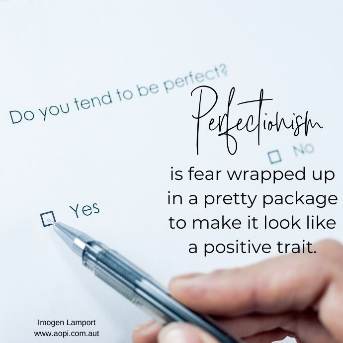 Perfectionism is fear wrapped up in a pretty package to make it look like a positive trait